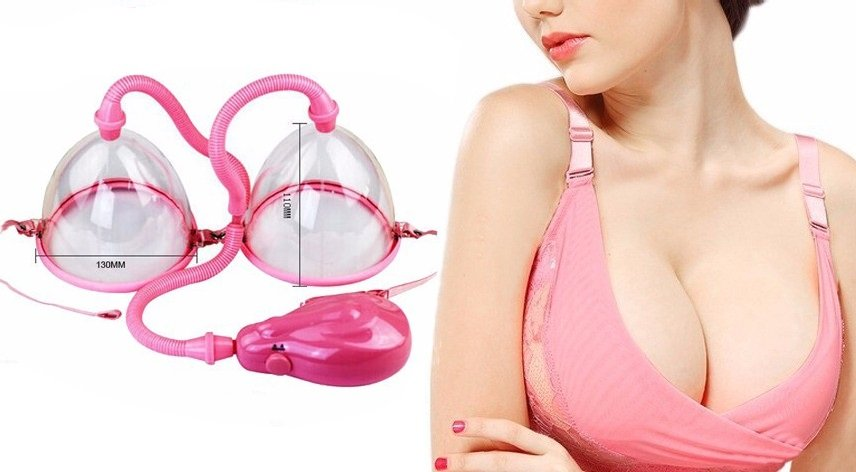 woman showing her breasts after using Breast enlargement pumps